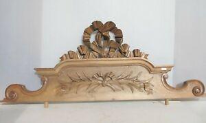 "Antique Wooden Furniture Finial Door Wardrobe Top Pediment Old Ribbon 44""W"