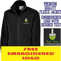 Personalised Embroidered Fleece Jacket GARDENER Workwear UNIFORM LOGO