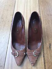 Celine Tan Brown Leather Heels Size 40/ 9