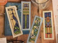 (C) Rennie Mackintosh Art Nouveau Bookmarks Cards Peacocks Cross Stitch Chart