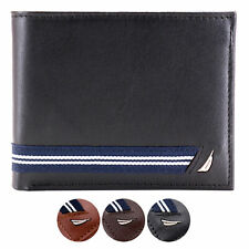 Nautica Men's Genuine Leather Credit Card ID Double Billfold Passcase Wallet