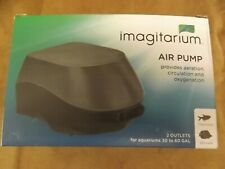 NEW Imagitarium Aquarium Air Pump 2 Outlet 30-60 Gal Aerate Circulate Oxygenate