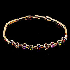 ,10K Rose Gold Filled GF Colour Stones Bracelet Bangle, 20cm Long, 6mm Wide