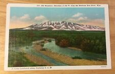 ELK MOUNTAIN, MEDICINE BOW RIVER WY vintage linen postcard - LINCOLN HIGHWAY