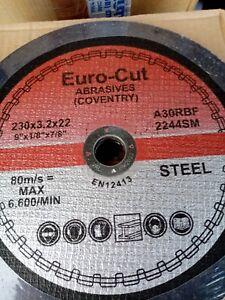 230mm x 3mm Dep Centre Cutting Discs Euro Cut A30RBF Date Code 09/2022