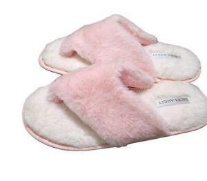 NEW Laura Ashley Pink Slippers Thongs Flip Memory Foam Faux Fur Size 6.5 7.5