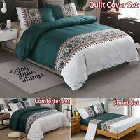 Teal Green Floral Doona Duvet Quilt Cover Set Sheet Set Single Double Queen King