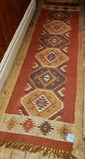Wool Jute Kilim Tribal rug 60x245cm Quality Hand Made runner blue rust beige