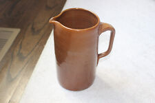 """Vintage Antique Tall Clay Pottery Pitcher Brown Handle 8.75"""" tall"""