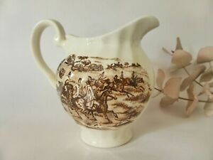 Homestead Vintage Pottery Creamer with Hand Painted Brown Transferware, Antique