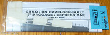 American Model Builders, Inc N #6900 Car Sides for: CB&Q / BN Havelock-Built 77'