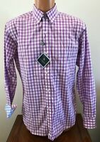 Tailorbyrd Mens Long Sleeve Button Down Shirt Wisteria Gingham Size Medium