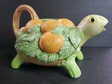Fitz And Floyd Turtle Lemon Pitcher Watering Can Vintage 1986 Ceramic Japan Cute