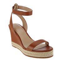 H by Halston Women Ankle Strap Espadrille Sandals Gene Size US 7M Cognac Leather