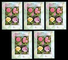 Rose Fragrance, Odd Unusual Stamps, Flowers, INDIA 2007 MNH Lot of 5  SS