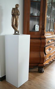 Holzsäule MDF 20x20x90cm weiß matt lackiert Podest Dekosäule Sockel Blumensäule
