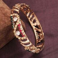 Pretty 18K Yellow Gold Filled Bangle design Mosaic Colorful Rhinestone Bracelet