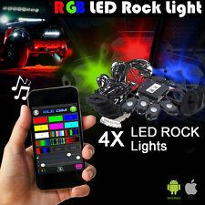 4Pcs Aluminum RGB LED Bluetooth Rock Lights Wireless Off-road 4X4 Undercar