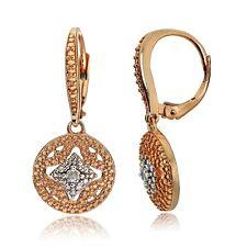 Rose Gold Tone over 925 Silver Diamond Accent Filigree Dangle Leverback Earrings