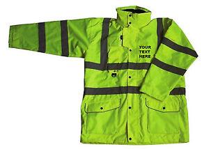 Custom Print  Yellow Hi Vis Visibility Viz Reflective Waterproof Unlined Jacket