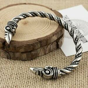 Viking Raven Bracelet Stainless Steel Norse Arm Ring Mens Jewellery Bangle