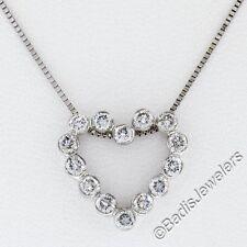 14k ORO BLANCO .50ctw Diamante Brillante Redondo Engaste ABIERTO