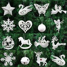 Ivory White Christmas Tree Pendant Baubles Fairy Snowflake Santa Decorations