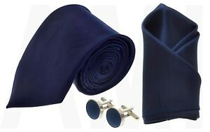 Mens Navy Blue Satin Tie, Or Handkerchief Or Cufflinks Or Full Set Work Party