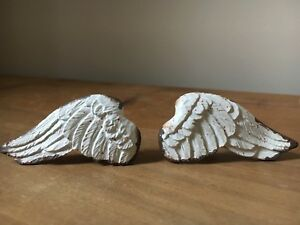 Set of 2 Angel Wing Pull Handles, Door Drawer Knobs for Shabby Chic Furniture