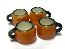 4 Mini Coffee Cups Dollhouse Miniatures Ceramic Supply Food Halloween Orange