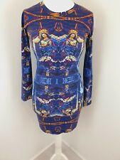 Illustrated People Bodycon Dress Blue Renaissance Print Medium - UK 12 Approx