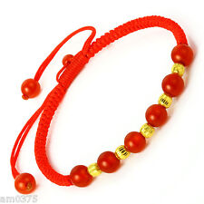 Hot Sale Pure999 24K Yellow Gold Beads&Six Red Agate Beads LuckyKnitted Bracelet