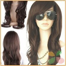 Dark Brown Long Wig Glamour Fashion Full Curly Wavy Woman Cosplay Human Hair NEW