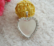 "5pcs 1 "" heart rhinestone Crystal Cameo setting DIY Blank Tray Necklace Pendant"