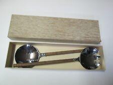 Vintage Manning Bowman Large Serving Spoon & Fork with Wood Handle