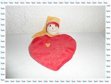 F - Doudou Plat Coeur Lutin Personnage Rouge, Jaune Beige Un Rêve de Bébé