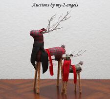NEW Pottery Barn Christmas Fabric PLAID REINDEER Ornaments LARGE & SMALL SET/2