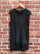 Costume National Black Mixed Media Suede Panel Sleeveless Top Blouse 44 * RARE!