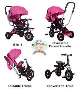 5 in 1 Little Bambino Pushchair Tricycle Trike-Pink Kids Multifunction Trike UK