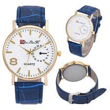 Men's Navy Blue Leather Band Analog Quartz Business Watch In Velvet Bag