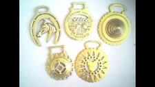 """Five Vintage Horse Brasses including """"The Ancient High House, Stafford."""""""
