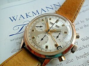 Vintage 1960's Wakmann Triple Date Calendar 3 Register Swiss Chronograph Watch