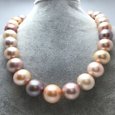 "HUGE 18""13-16mm natural south sea genuine gold pink purple round pearl necklace"