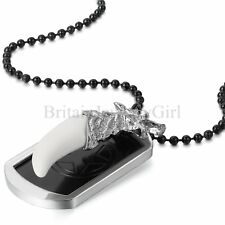 """Men's Military Wolf Teeth Dog Tag Photo Frame Pendant Necklace 27.5"""" Ball Chain"""