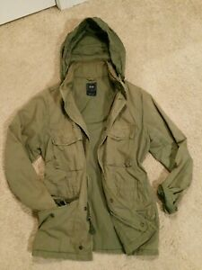 The Gap Rugged Lined Hooded Military Field Jacket Coat Olive Green. Mens Small S