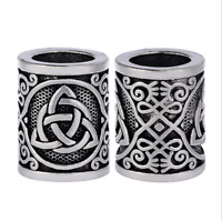 1Pcs Ancient Silver Norse Viking Runes Big Hole Beads DIY Craft Accessory Making