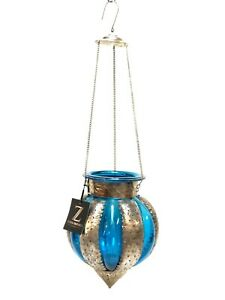 Hanging Glass Moroccan Style Lantern Candle Holder Blue Hand Made Zenda Imports
