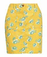 BN LADIES SUMMER NEXT YELLOW FLORAL LINEN BLEND PRINTED SKIRT 6~16 ONLY £12.99