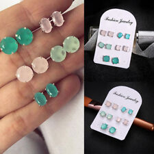 5Pairs/Set Women Simple Crystal Geometry Earrings Stud Ear Earrings Jewelry Gift