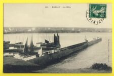 cpa Bretagne CROZON (Finistère) MORGAT Le Môle Bateaux de Pêche Filets à secher